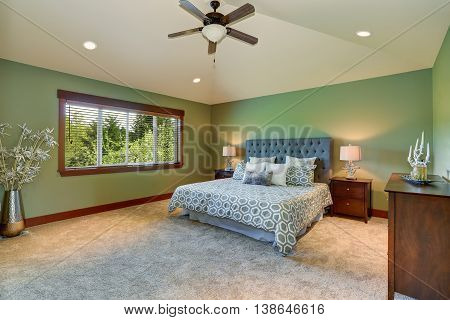 Cozy Bedroom With Blue Bed, Buttons Headboard And Green Walls