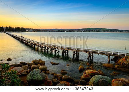 View at the Victor Harbor foot bridge at sunset from the Granite Island South Australia