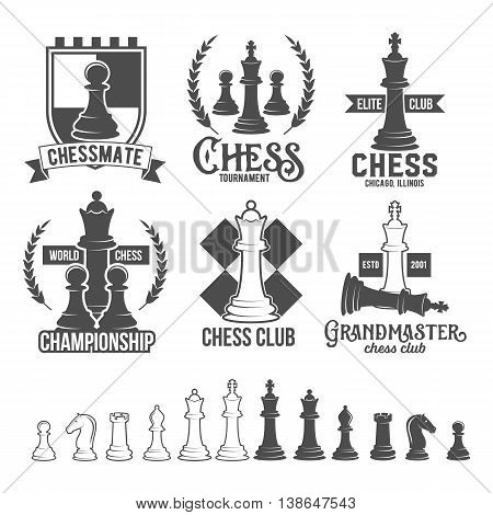 Set of vintage chess labels, logotypes badges and design elements.