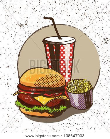 Fast food poster in retro pop art style. Vector comic illustration. Concept graphic background with burger, fries and soda.