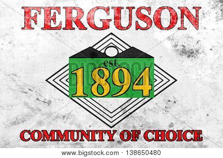Flag Of Ferguson, Missouri, Usa, With A Vintage And Old Look