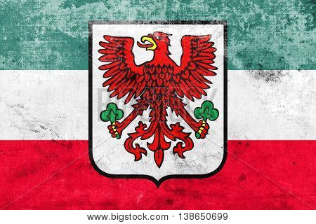 Flag Of Gorzow Wielkopolski With Coat Of Arms, Poland, With A Vi