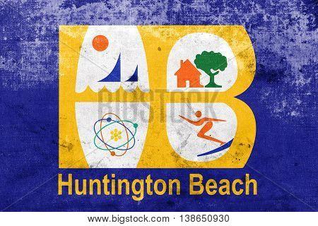 Flag Of Huntington Beach, California, Usa, With A Vintage And Ol