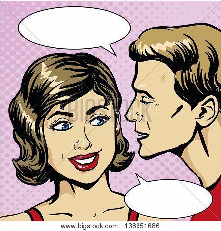 Pop art retro comic vector illustration. Man whispering gossip or secret to woman. Speech bubble.