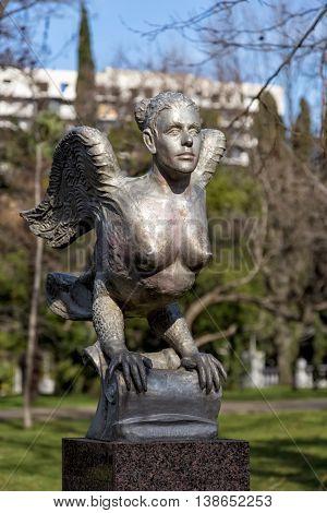 Sochi, Russia - February 11, 2016: Sculpture Bird Sirin - mythological creature of Russian legends