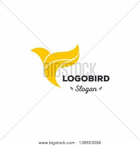 Fun, beauty, isolated, cartoon, geek, strict tit flies. triangular vector shape. stylish, minimalistic, flat, elegant royalsilhouette stylized logotype yellow color logo template Dove tit colibri
