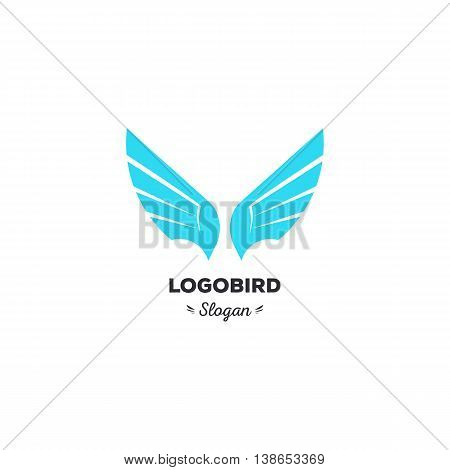 Isolated, cartoon, geek, strict eagle flying, triangular vector shape, minimalism, flat, stylish, geometric stylized logotype, blue color logo template, bird wings feathers eagle element logo