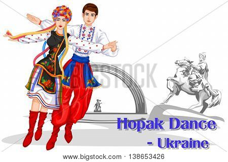 Vector design of Ukrainian Couple performing Hopak Dance of Ukraine
