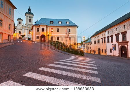 Slovakia, Banska Stiavnica, cityscape, town, old town, street, evening, dusk, UNESCO, heritage, world heritage site, attraction, landmark, historic, medieval, mining, shop, pubs, coffee shop, statue