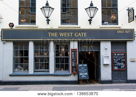 BATH SOMERSET UK - JULY 15 2016 The West Gate Public House. Pub on Westgate Street in the UNESCO World Heritage City of Bath in Somerset England