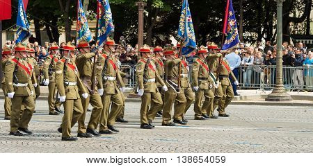 Paris France-July 14 2016 : The soldiers of New Zealand army participate in Bastille Day military parade on Champs Elysees avenue on the occasion of the centennial anniversary of the Battle of Somme.