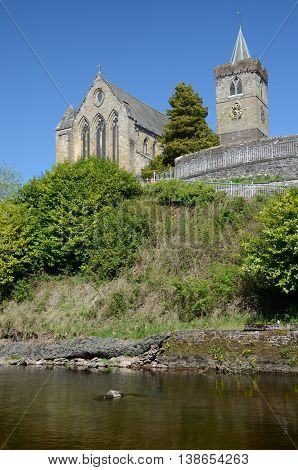 A view across the river to the hilltop cathedral in Dunblane