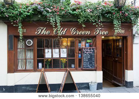 BATH SOMERSET UK - JULY 15 2016 The Old Green Tree Public House. Pub on Green Steet in the UNESCO World Heritage City of Bath in Somerset England