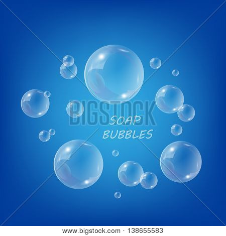 Bubble soap vector foam from shampoo - clear bubble on background