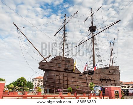 MALACCA MALAYSIA - FEB 29: Malacca Maritime Museum on February 29 2016 in Malacca Malaysia. It is a replica of the 'Flora de La Mar' a Portuguese ship that sank off the coast of Melaka.