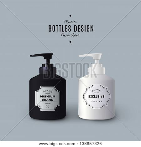 Realistic Black and White Liquid Soap Dispensers. Vector Bottles with Vintage Labels. Product Packaging Design. Plastic Container Mock Up.