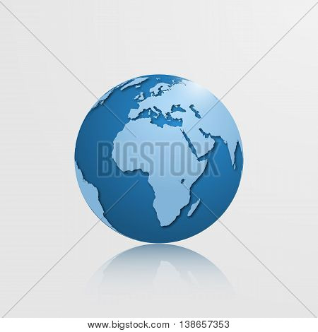 High detailed globe with Europe Africa and Eurasia. Vector illustration.