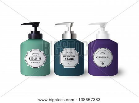 Realistic Colorful Liquid Soap Dispensers. Vector Bottles with Vintage Labels. Product Packaging Design. Containers with Black and White Plastic and Silver Metal Bottle Cap Mock Up.