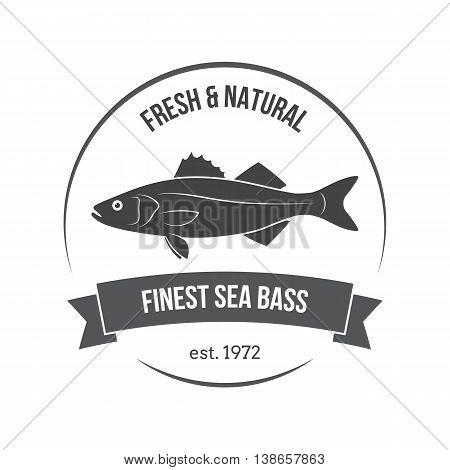 Vector Sea Bass, Labrax, Branzino Label. Template For Stores, Markets, Food Packaging. Seafood Illus