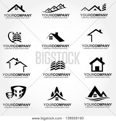 Vector set real estate logo building design