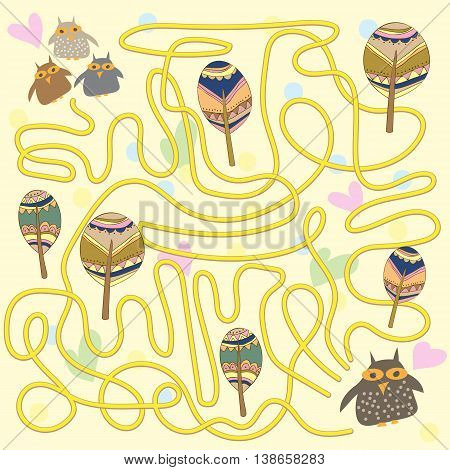 funny owls labyrinth game for Preschool Children