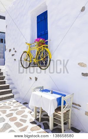 Charming Greek tavernas on narrow streets. Naxos island, Cyclades
