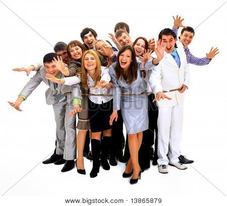 Young business people tied up together against white background