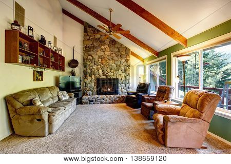 Great Living Room Interior In American Country House.