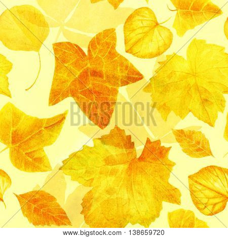 A golden yellow seamless background texture pattern made of hand painted watercolor leaves (ivy brunnera hydrangea heuchera chestnut and ginkgo)
