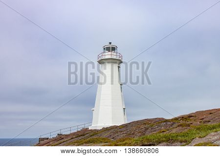 Modern White Lighthouse at Cape Spear Newfoundland