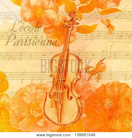 A vintage style collage golden toned with an old violin the words 'Parisian school' in French watercolor camellias and roses a butterfly and toned sheet music in the background