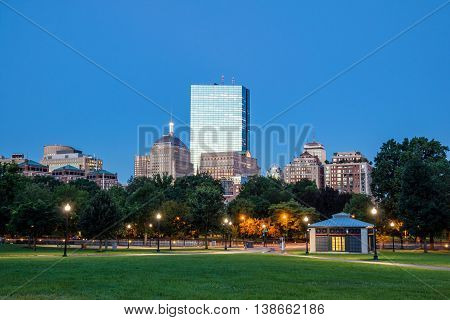 The Boston Common At Night In Boston Ma