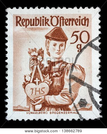 ZAGREB, CROATIA - SEPTEMBER 13: A stamp printed in Austria from the