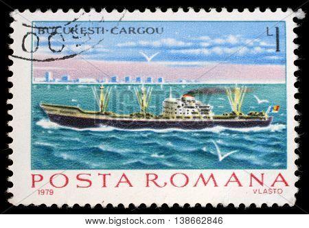 ZAGREB, CROATIA - JULY 19: a stamp printed in Romania shows Cargo steamer Bucuresti, circa 1979, on July 19, 2012, Zagreb, Croatia
