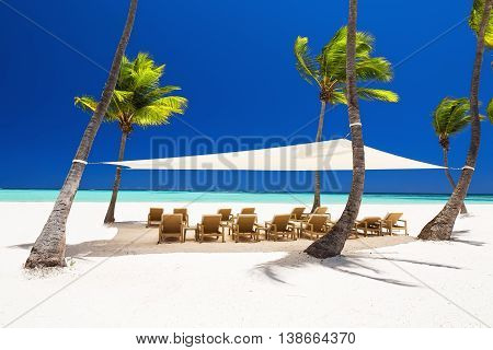 Beautiful White Sandy Beach Of A Luxury Resort In Punta Cana