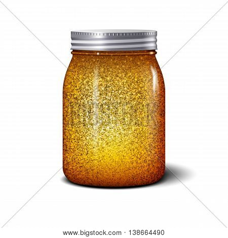 Glitter jar. Realistic object with golden sparkles