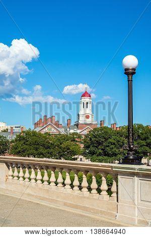 John W. Weeks Bridge With Clock Tower Over Charles River In Harvard University