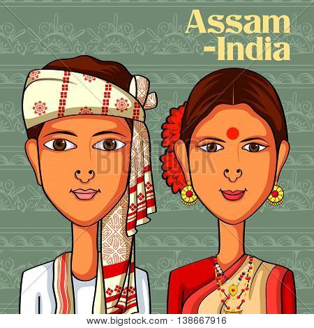 Vector design of Assamese Couple in traditional costume of Assam, India
