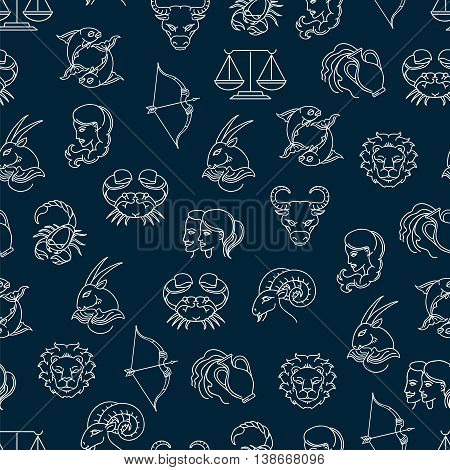 Seamless pattern with zodiak signs on blue background. Vexctor illustration