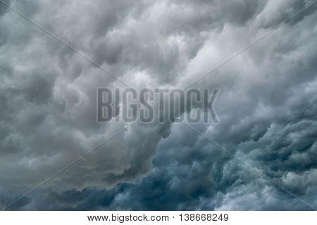 Dark gray-blue storm clouds. La nina and superstorm concept.