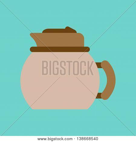 flat icon on stylish background coffee dishware kettle