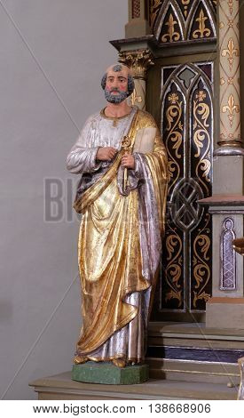 SVETI MARTIN POD OKICEM, CROATIA - SEPTEMBER 16: Statue of Apostle saint Peter on the altar of the Virgin Mary in the church of Saint Martin in Sv. Martin pod Okicem, Croatia on September 16, 2015.