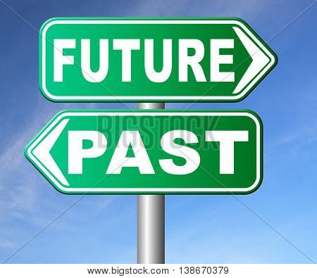 past future prediction and forecast near future fortune telling and forecast evolution and progress and innovations 3D illustration