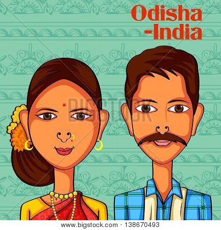 Vector design of Odia Couple in traditional costume of Odisha, India