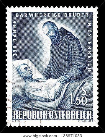 AUSTRIA - CIRCA 1964 : Cancelled postage stamp printed by Austria, that shows Father Gabriel Ferrara.