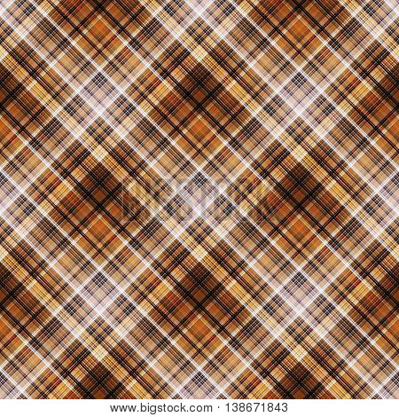 Checkered seamless pattern. Yellow, orange, brown and black cowboy ornament. Abstract symmetrical background. Vector eps10