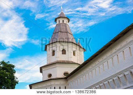 Novospassky Monastery. New Monastery Of The Saviour. Russia. Istra. Fortress Wall On The Background