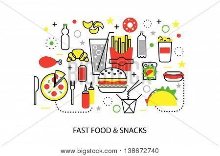 Modern flat thin line design vector illustration concepts of unhealthy fast food and snacks for graphic and web design