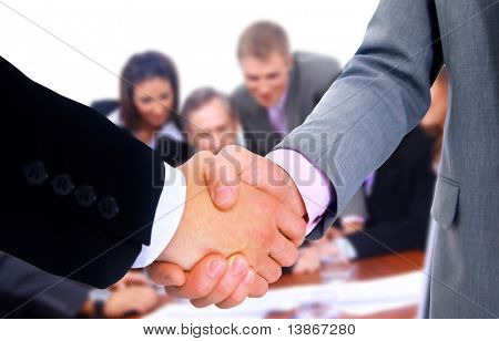 business team and handshake