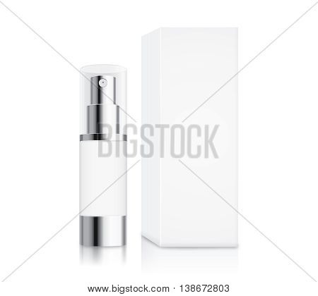 Cosmetic pump bottle small size and white box isolated on white for serum container mock up and cream and gel or other job.